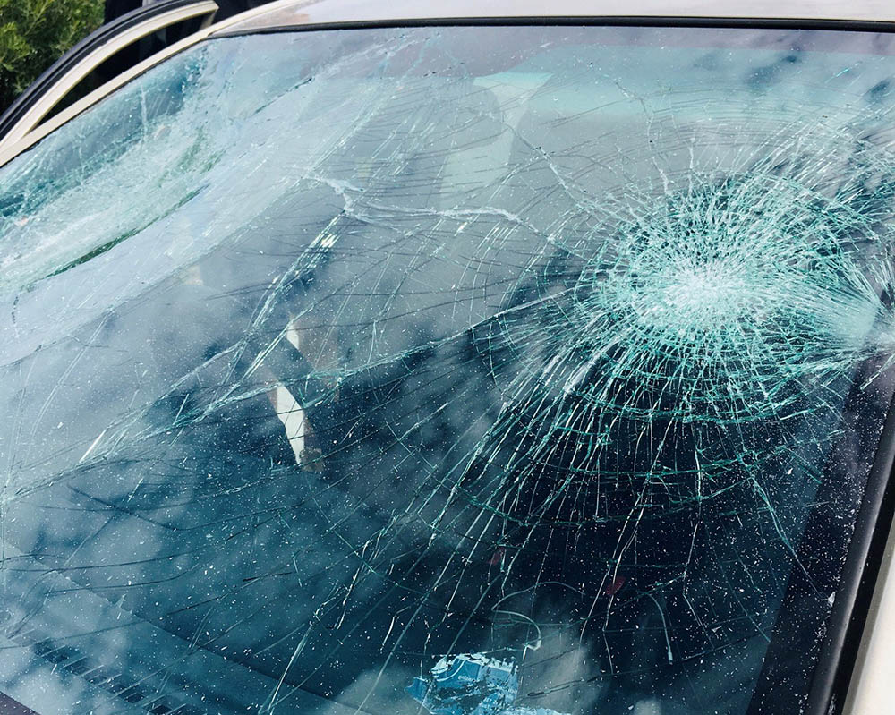 smashed car window screen